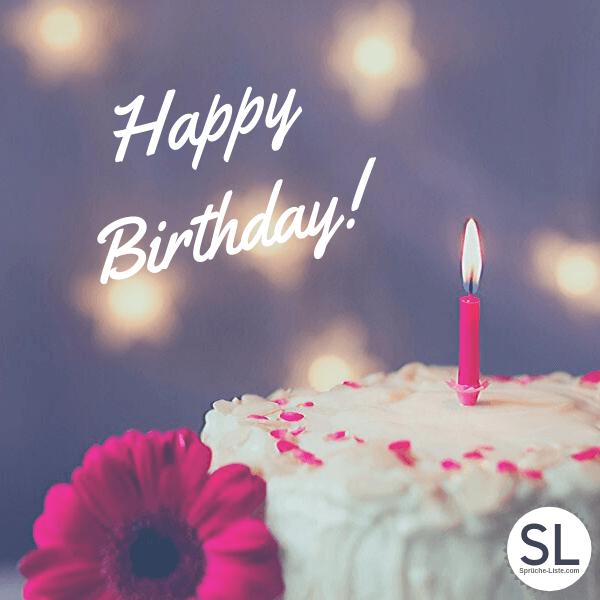 Happy Birthday Torte mit Kerze - Geburtstagsbilder